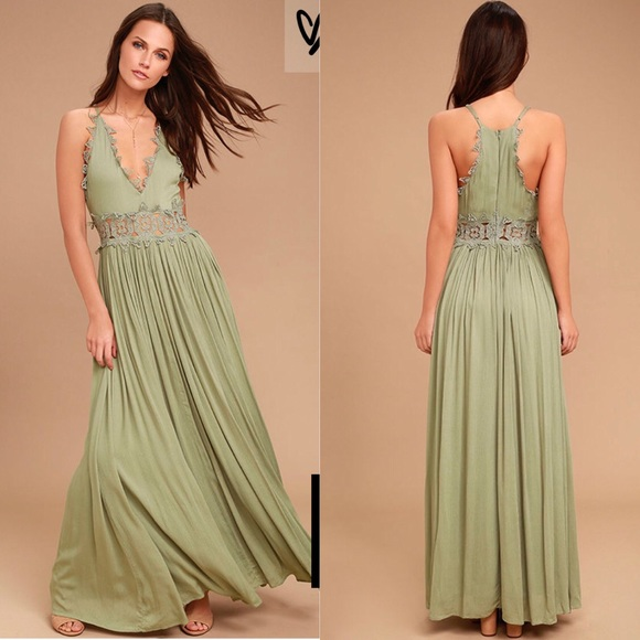 59a2a8523d17 Lulu's Dresses | Sage Green Lace Maxi Dress | Poshmark